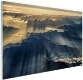 Himalaya zonsopkomst Glas 120x80 cm - Foto print op Glas (Plexiglas wanddecoratie)