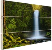 Jungle waterval Hout 60x40 cm - Foto print op Hout (Wanddecoratie)