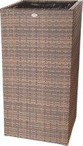 Bloembak Pilastro - hoog  60x60x120 cm - cappuccino wicker