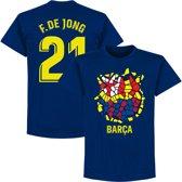 Barcelona F. De Jong 21 Gaudi Logo T-Shirt - Navy - XXL