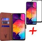 Samsung Galaxy A30s Hoesje + Screenprotector Full Screen - Book Case Portemonnee - iCall - Bruin