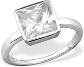 Zilver schitterende vierkante ring | Silver Shiny Square Ring  | Sterling 925 Silver (Echt zilver)
