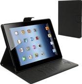 Mercury (Fancy Diary serie) book case hoesje - Magnetische sluiting en ruimte voor 4 pasjes - Zwart kunststof - geschikt voor Apple iPad 2, 3 en 4