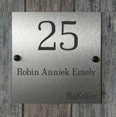 Naambordje voordeur RVS|Naambord 20x20cm