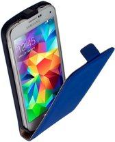 LELYCASE Lederen Flip Case Cover Hoesje Samsung Galaxy S5 Mini Blauw