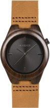 HOT&TOT Pantera Castano - Houten horloge - Leer - Donkerbruin - Zwart - ø 38 mm