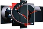 Glasschilderij Modern | Rood, Grijs, Zwart | 170x100cm 5Luik | Foto print op Glas |  F004309