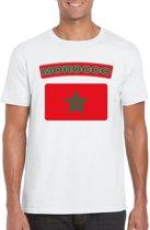 Marokko t-shirt met Marokkaanse vlag wit heren - maat L