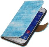 Samsung Galaxy Xcover 3 G388F Turquoise   Lizard bookstyle / book case/ wallet case Hoes    WN™