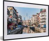Foto in lijst - Wijk in Guangzhou fotolijst zwart met witte passe-partout 60x40 cm - Poster in lijst (Wanddecoratie woonkamer / slaapkamer)