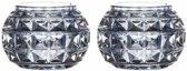 2x Theelichthouders Paris lichtblauw glas 7,4 cm - Woon decoratie - Waxinelichtjeshouders/kaarshouders