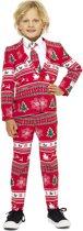 OppoSuits Winter Wonderland - Jongens Kostuum - Rood - Kerst - Maat 98/104