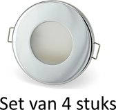 Dimbare Phillips 5W GU10 Badkamer inbouwspots Zilver rond | Extra warm wit (Set van 4 stuks)