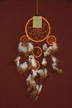 Dromenvanger / Dreamcatcher Ø12cm met kleintjes  - oranje