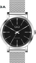 Q&Q heren horloge Q892J800Y- zilverkleurig band en zwarte wijzerplaat