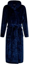 Flanel fleece badjas - marineblauw - capuchon maat S/M