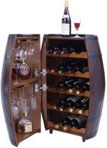Brulo - Vintage wijnkast wijnton hout 20+ wijnflessen