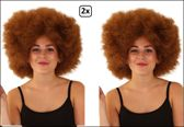 2x Super Afro pruik bruin - Carnaval disco 70s and 80s party festival  thema feest