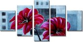 Rode Bloemen - Canvas Schilderij Vijfluik 160 x 80 cm
