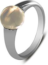 Silventi 943283668-58 - Zilveren ring - glas steen rond 8 mm - ringmaat 58 - zilverkleurig / champagne