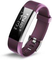 Activity Tracker met Hartslagmeter Paars Fitness Armband Hartslag Horloge Stappenteller Calorieteller Nieuw Model Maat Pols 14 cm tot 19 cm
