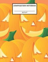 Composition Notebook: Halloween Pumpkin Jack O Lantern Big Face, Wide Ruled paper Notebook, Notes Taking, Basic Lines Journal,8.5''x11'',100 P