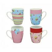 Sabatier set van 4 porseleinen mokken - koffiekop - theekop - kleurrijk design