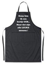 Mijncadeautje Schort - Een beetje gek - opdruk wit - mooie en exclusieve keukenschort - zwart