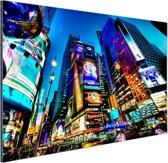 Times Square NYC in de avond Aluminium 60x40 cm - Foto print op Aluminium (metaal wanddecoratie)