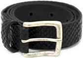 Dames riem 3cm Zwart dierenprint Maat 85 (S/M) echt leer | Tannery Leather