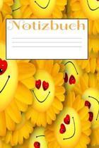 Notizbuch - Punktraster - A5 - 120 Seiten: Lachende Sonnenblumen Design