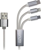 Azuri 3-in-1 USB cable with micro-USB, type C and lightning connector - grijs
