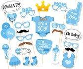 Quo Sale Photobooth Props Set - Babyshower - Voor Jongen Boy - Baby Shower Attributen - Decor Versiering Kraamfeest - Gender Reveal - Fotografie accessoires - Geboorte Jongen - 25 stuks - Blauw
