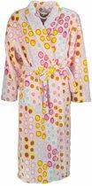 Fleece dames badjas met sjaalkraag. Roze S15.