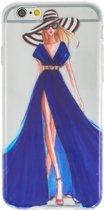 GadgetBay Meisje jurk elegant iPhone 6 6s TPU hoesje - Blauw Strepen - Doorzichtig