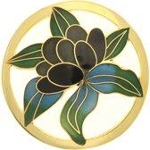 Behave® Dames broche rond bloem goud-kleur en zwart emaille