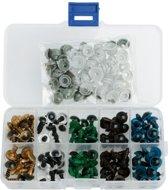 50 Paar 10 mm Hobbyoogjes box in 5 verschillende kleuren - NBH®
