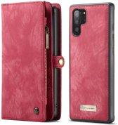 CASEME Luxe Leren Portemonnee hoesje voor de Samsung Galaxy Note 10 Plus - rood