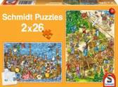 Puzzel Bij de Vikingen 2x26 stukjes