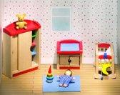Goki Houten poppenhuis moderne kinderkamer 12-delig