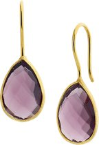 The Jewelry Collection Oorhangers Synthetische Amethyst - Geelgoud Op Zilver