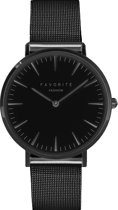 Navarra Full Black Mesh Horloge | Zwart | Mesh band | Luxe Giftset/Cadeauset