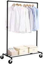 Garderoberek op wieltjes – Mobiel kledingrek met Legruimte - Draagcapaciteit 90 kg - Zwart