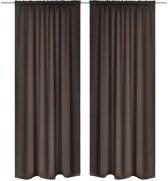 Gordijnen met gleuven 135 x 145 cm 2 stuks (bruin)
