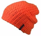 Basic beanie muts oranje voor dames - wintermuts