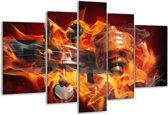 Glasschilderij Abstract | Rood, Zwart, Geel | 170x100cm 5Luik | Foto print op Glas |  F003298