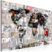 Schilderij - Wereldkaart , Moderne Wereld , 3 luik