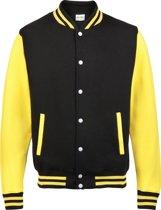 AWDis Varsity jacket, Jet Black/Sun Yellow, Maat M