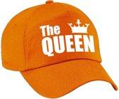 The Queen pet / cap oranje met witte letters en kroon voor dames - Koningsdag - verkleedpet / feestpet
