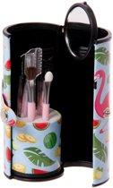 Make up setje Flamingo tasje kwastjes nagelvijl borsteltje pincet - 6 delig